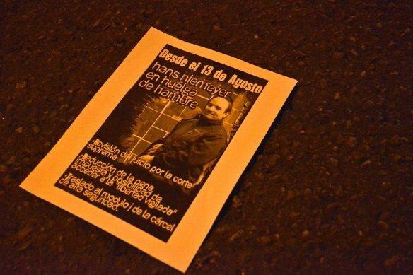 Panfleto lanzado en la acción solidaría realizada el pásado 22 de agosto.
